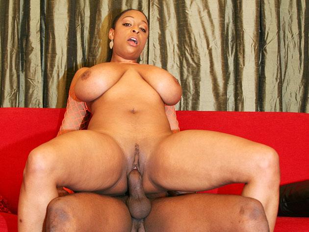 Horny ebony babe with huge tits