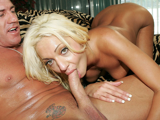Blonde working hard on cock