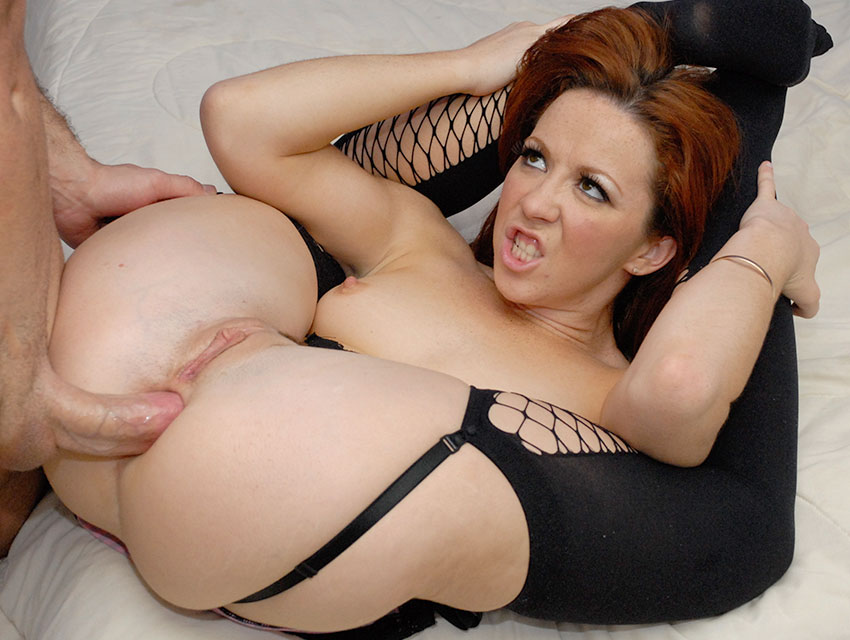 Black stockings and a tight butthole