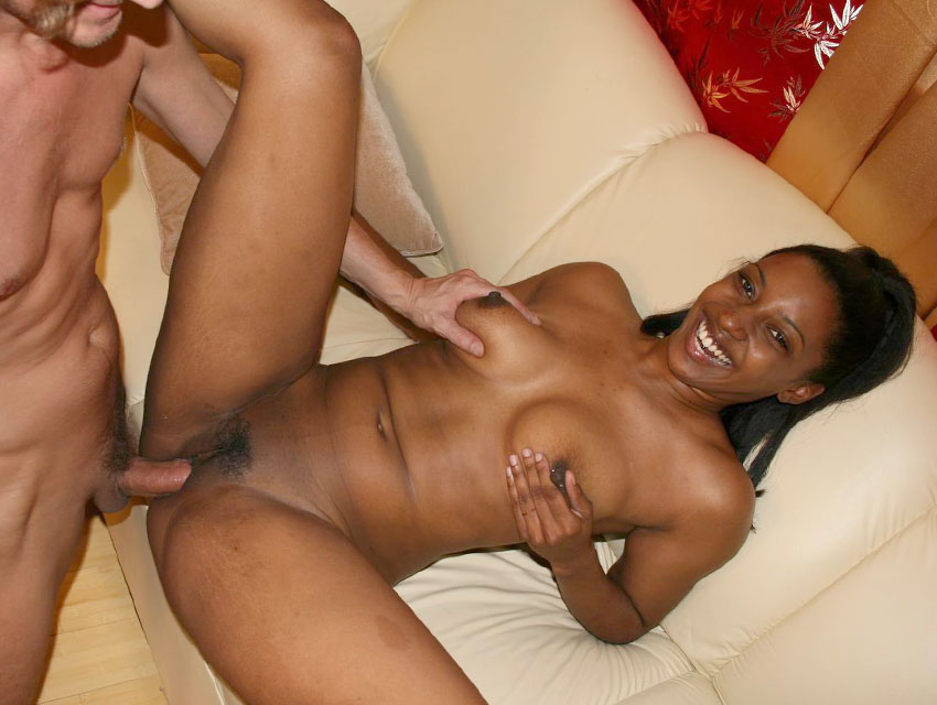 Ebony Belle attacks a white cock