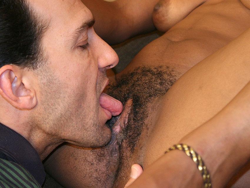 White guy licking black pussy