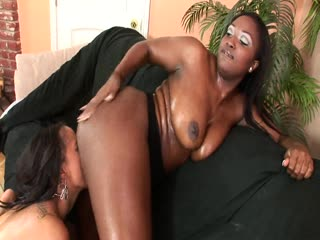 Oiled Up Ebony Hottie Fucks Her Girlfriend In All Herholes