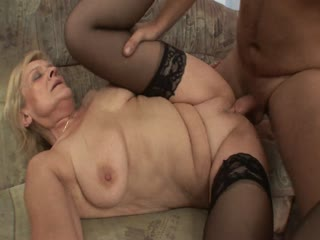 Mature Woman In Sexy Black Stockings Sucks And Fucks A Young Cock