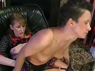 Spicy babe can't miss opportunity to get strap-on fucking with mature chick