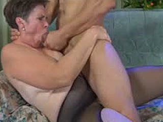 Muscle Stud Wakes Up A Mature In Black Control Top Hose For A Fuck Session