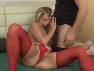 Horny Mature In Red Stockings Rides A Cock