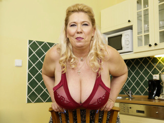 Old Busty Blonde Granny Playing With Herself