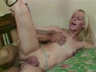 Sexy Blonde Tgirl Sucks Cock And Gets Banged