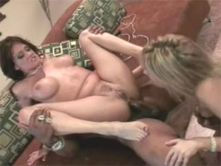 Two horny sluts take a BBC in all their holes