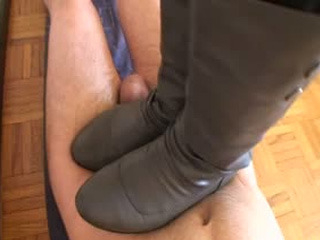 Brutal cock crush footjob with strappy high heels shoejob