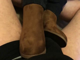 Brown Boots Cock Rub