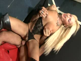 Blonde tgirl riding a dick