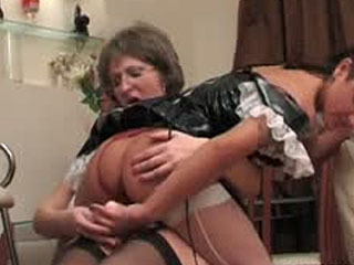 Young French Maid Swallows And Fucks A Fake Cock Of A Strapon-Armed Mature