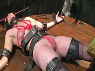 Blonde Mistress Torturing Her Slave