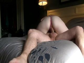 Brunette girl rides her boyfriend's cock