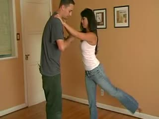 Self Defence Sexy Jeans In Action