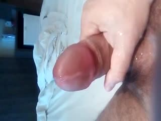 Cumshot On Hotel Bedroom