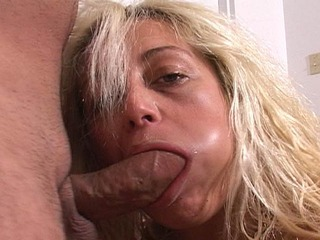 cute blonde Alylia enjoys giving a deep throat blowjob