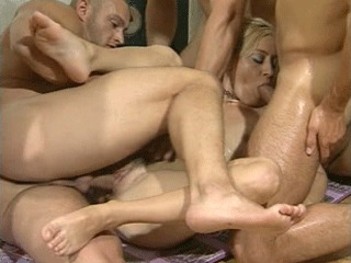 Four Cocks For The Horny Blonde