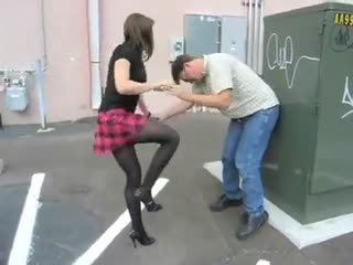 Cute Rough Girl In Skirt Demolishes Attacker's Balls