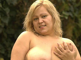 Blonde Fatty Enjoys Outdoor Sex