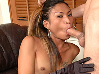 Hot Tranny Cop Shu Gets Right To Sucking Cock