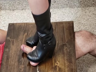 Black Boot Ballbusting Bootjob Custom Video