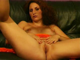 Pretty brunette rubbing her twat