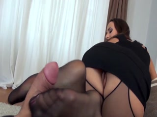 Sexy Brunette Giving A Hot Footjob To Horny Man