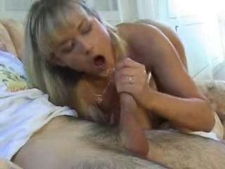 Hot Nikki stroking big cock