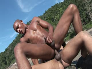 Two horny dudes fucking each other on the beach