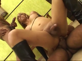 Two Men Banging Horny Shemale