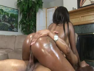 Sexy Ebony Babe Riding A Stiff Cock