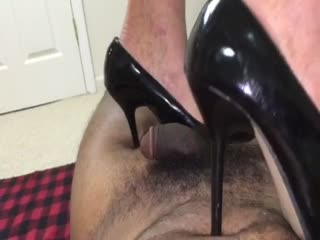 Shiny Black Heels Trampling