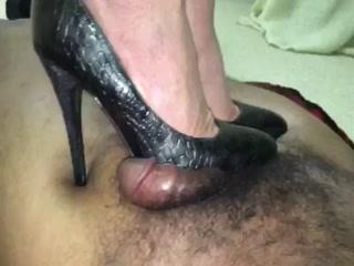 Dark Gray Snakeskin Heels Trampling