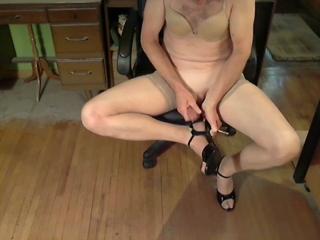 Beige Bra & Black Heels Cum