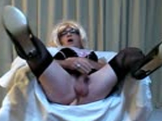 Crossdresser French Maid Playing With Dildo