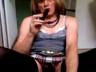 Susan Cummin A Load On Her Face And Frock And Fucking Herself Good With Dildo