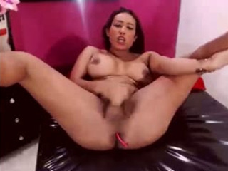 Busty Solo Shemale Babe Jerking On Webcam