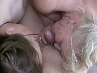 Two Fat Matures Sucking Old Cock