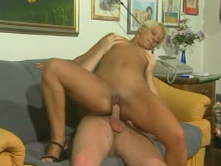 Super hot blonde MILF riding cock like a pro