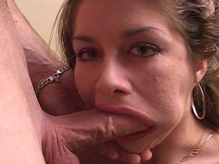 Krystal chokes on a hard cock