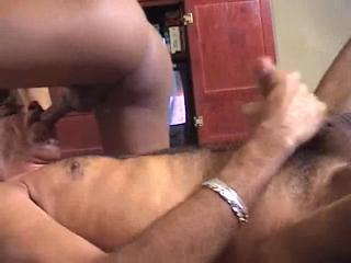 Big black cock stretching a black butt hole
