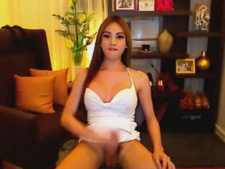 Hot Busty Shemale Eats Her Cum