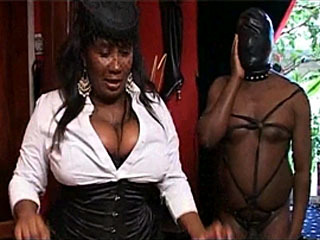 Busty Ebony Mistress Commands Her Pet Slaves To Obey