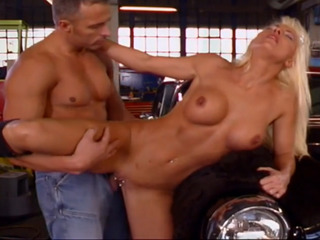 Blonde slut fucked on the car hood