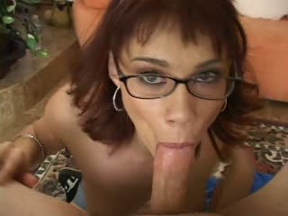 Cute girl sucks a dick with her glasses on