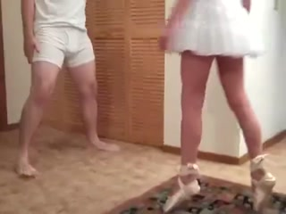 Sexy Chick In Ballet Shoes Ballbusting