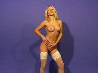 Amateur Blonde Takes Off Her White Lingerie