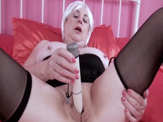 White Vibrator In Trisha's Pussy